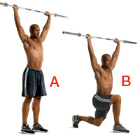 Overhead walking lunge demonstrated in an image from Stampede Crossfit http://www.stampedecrossfit.com/