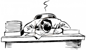 0511-1005-0201-0040_Black_and_White_Vintage_Cartoon_of_a_Man_Asleep_at_His_Desk_clipart_image